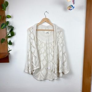 Anthropologie Cotton Cream Knit Open Cardigan XS